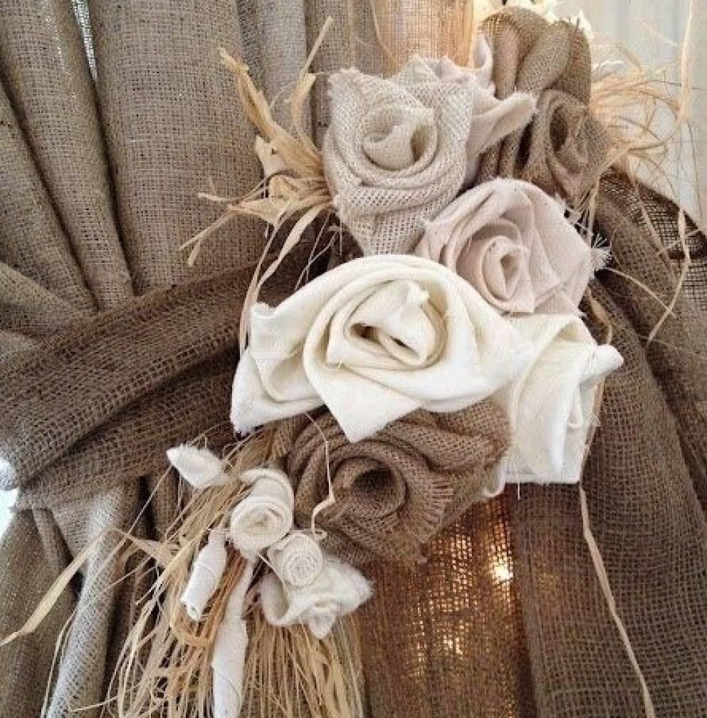 Цветы из мешковины своими руками фото